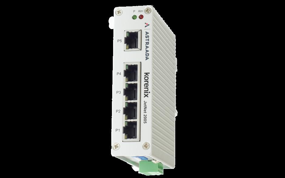Switch przemysłowy, Ethernet - 5xRJ45 (10/100 Base-TX), zab. przeciwprzepięciowe Hi-Pot 1.5kV, IP31, -25...+70C