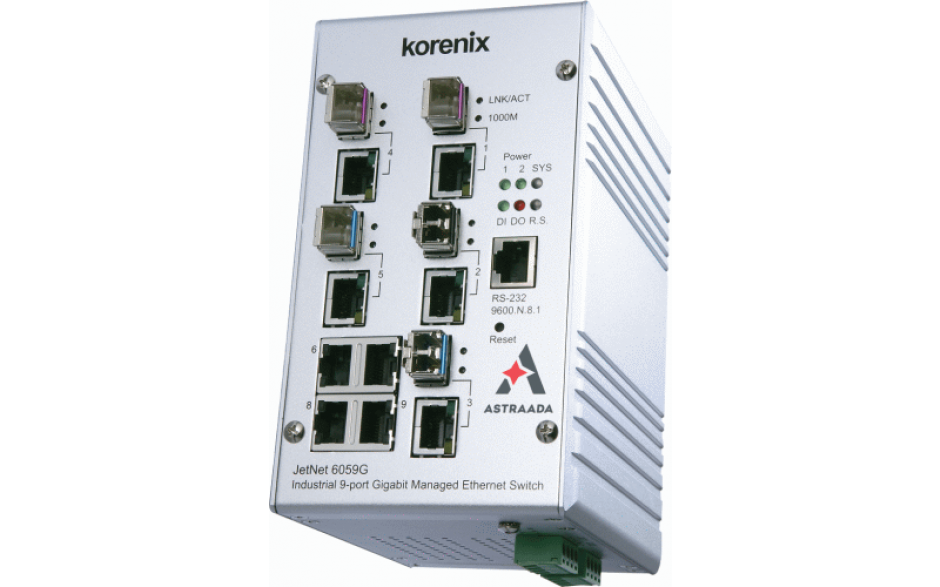 Switch przemysłowy, Ethernet - 4xRJ45 (10/100/1000 Base-TX) + 5xRJ45/SFP (100/1000 Base-X), zarządzalny, RING
