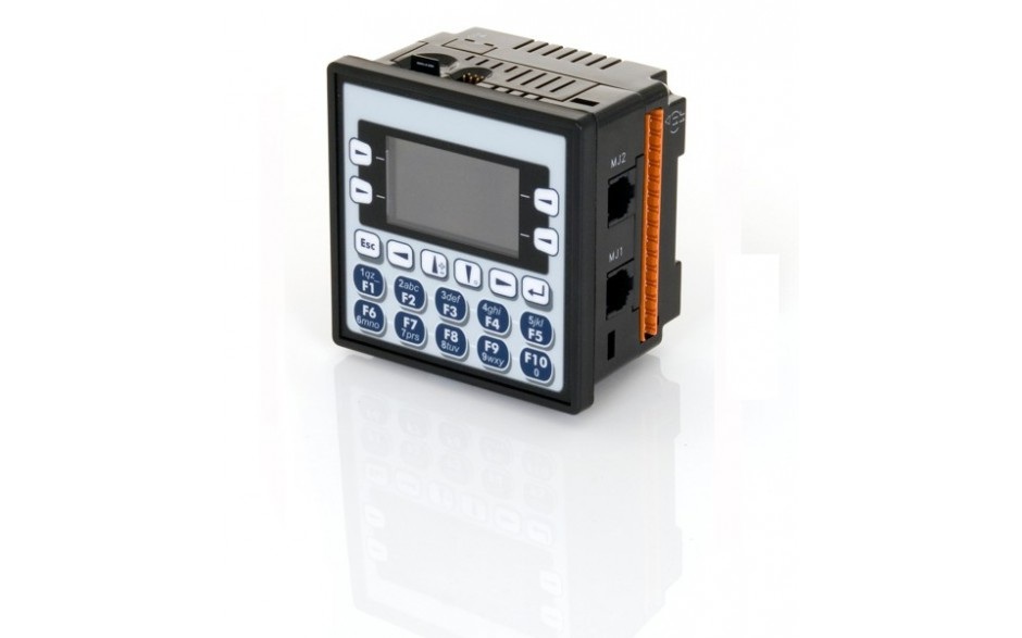 "Sterownik PLC z HMI XLe - 2.25"", CAN; 24 DI (24VDC), 16 DO (24VDC), 2 AI (0-10V, 0-20mA); zasilanie 9-30VDC 6"