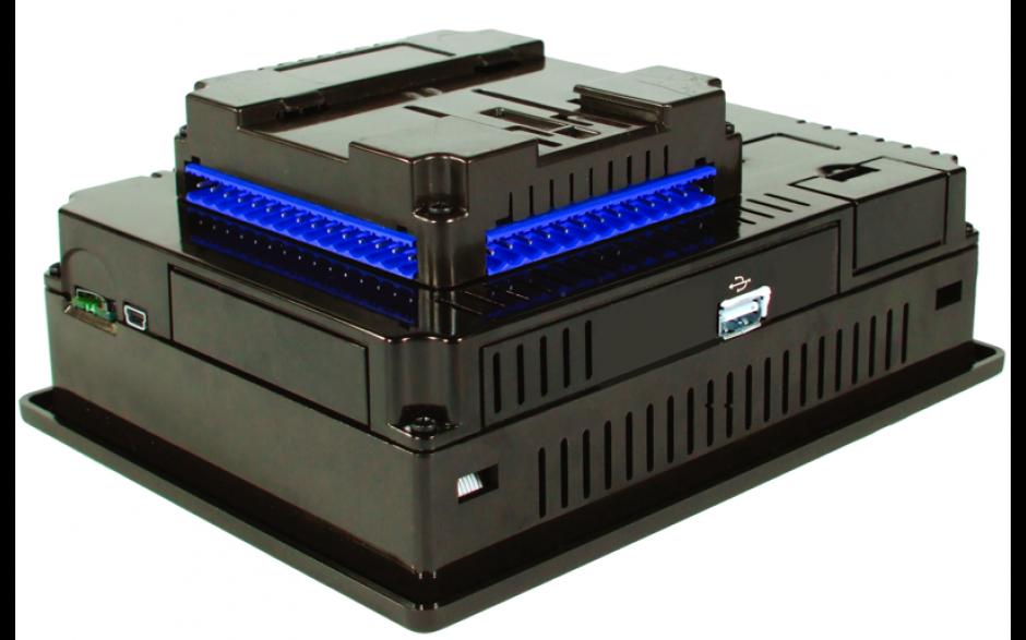 """PROMOCJA - XL6e; PLC + HMI 5.7"""" dotykowy; 2 x RS232/485, Ethernet, CAN, USB; 12 wej. cyfrowych 24 VDC, 6 wyj. przekaźnikowych 2A, 4 wej. analogowe (0-10V, 0-20mA); zasilanie 9-30VDC 4"""