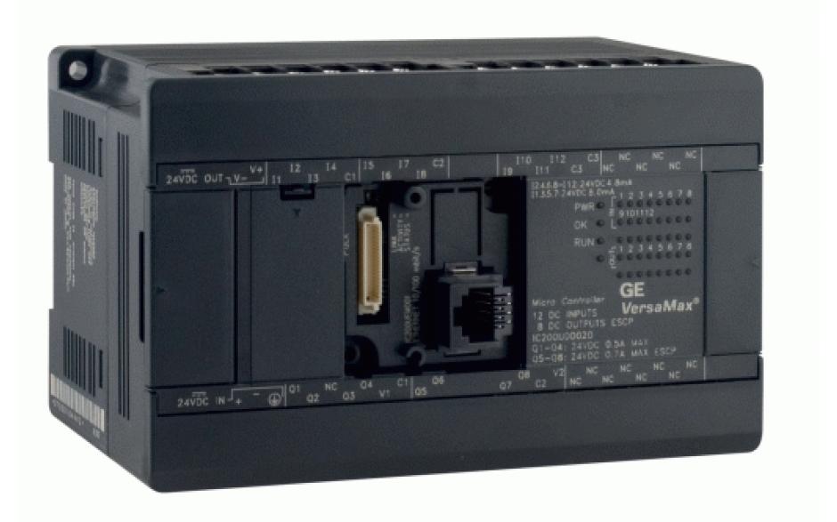 VersaMax Micro; RS232, RS485; 16 wej. cyfrowych 24 VDC, 12 wyj. cyfrowych 24 VDC z ESCP; zasilanie 24 VDC