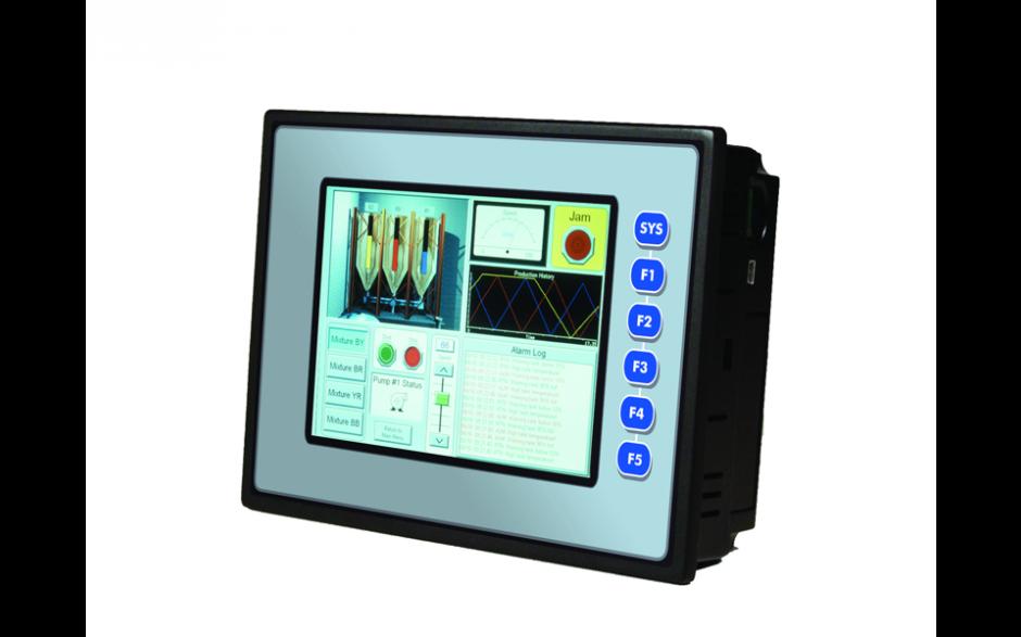 """PROMOCJA - XL6e; PLC + HMI 5.7"""" dotykowy; 2 x RS232/485, Ethernet, CAN, USB; 12 wej. cyfrowych 24 VDC, 6 wyj. przekaźnikowych 2A, 4 wej. analogowe (0-10V, 0-20mA); zasilanie 9-30VDC 2"""