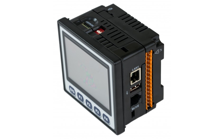 "Sterownik PLC z HMI XL4e - 3.5"", 12 DI (24 VDC), 6 DO (przekaźnikowe 2A), 4 AI (0-10V, 0-20mA); zasilanie 9-30VDC 10"