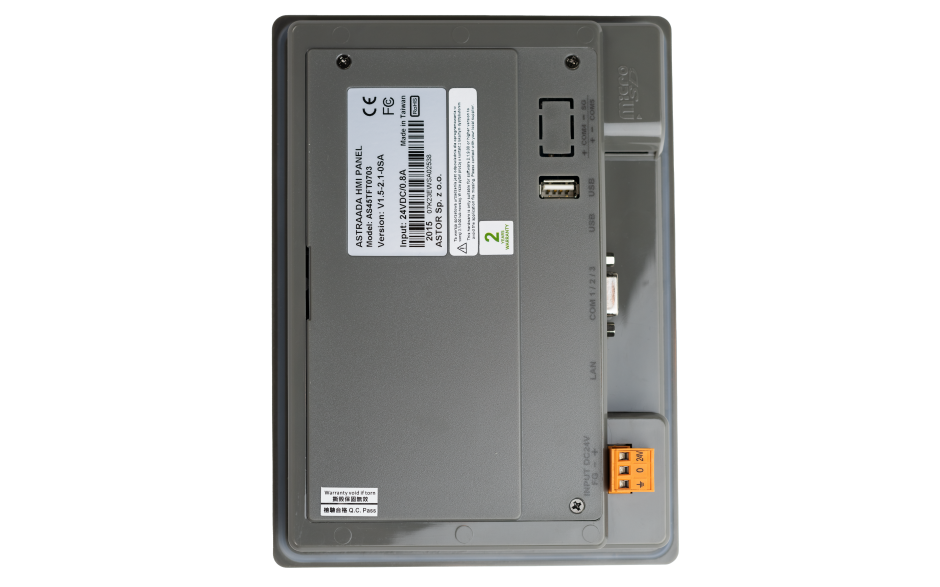 "Dotykowy panel operatorski Astraada HMI, matryca TFT 7"" (800x480, 65k), RS232, RS422/485, RS485, USB Client/Host, Ethernet, 24m gwarancji 5"