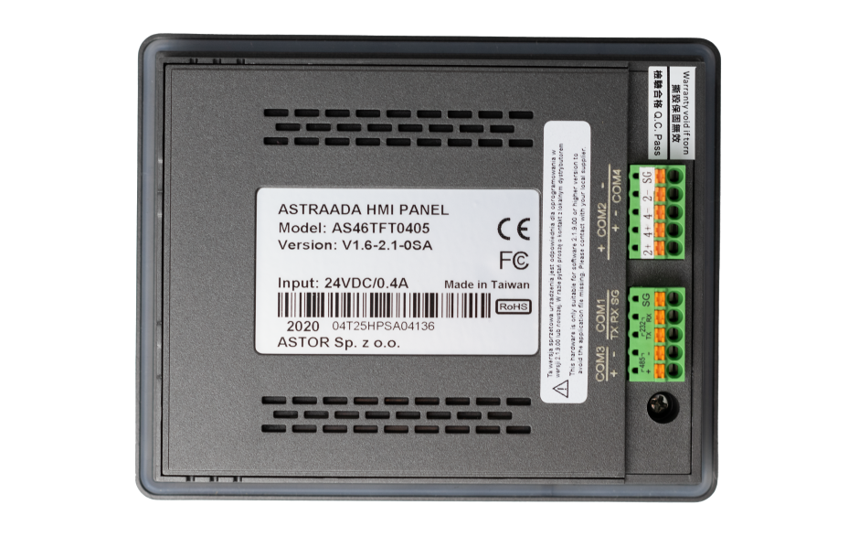 "Dotykowy panel operatorski Astraada HMI, matryca TFT 4,3"" (480x272, 65k), RS232, 3x RS485 USB Client/Host, Ethernet, 30m gwarancji 5"