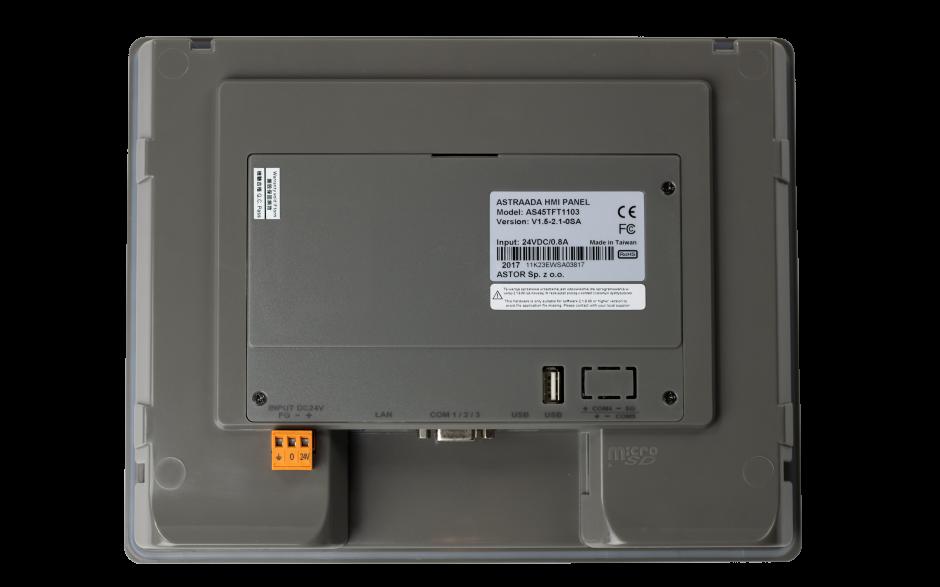 "Dotykowy panel operatorski Astraada HMI, matryca TFT 10,1"" (1024x600, 65k), RS232, RS422/485, RS485, USB Client/Host, Ethernet, 24m gwarancji 4"