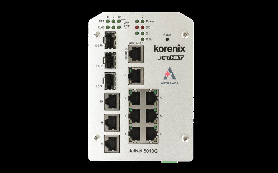 Switch zarządzalny przemysłowy, Ethernet - 10-portowy (7 x 10/100 Base-TX + 3 x RJ45/SFP - 100/1000 Base-X), RING, Modbus TCP, poszerzony zakres temperatur 3