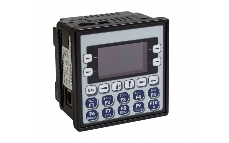 "Sterownik PLC z HMI EXLe - 2.25"", Ethernet; 12 DI (24V; 4 HSC); 12 DO (24V; 2 PWM); 2 AI (0-10V; 0-20mA; 4-20mA; RTD; THM); 2 AO (0-10V; 0-20mA; 4-20mA)"