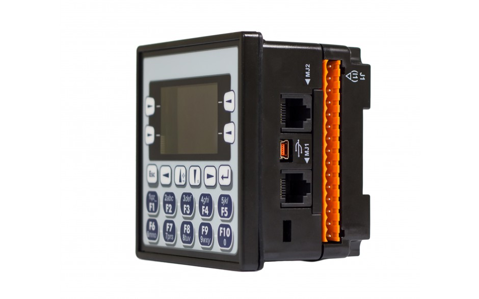 "Sterownik PLC z HMI EXLe - 2.25"", Ethernet; 12 DI (24V; 4 HSC); 12 DO (24V; 2 PWM); 6 AI (0-10V; 0-20mA; 4-20mA; RTD; THM); 4 AO (0-10V; 0-20mA; 4-20mA) 2"