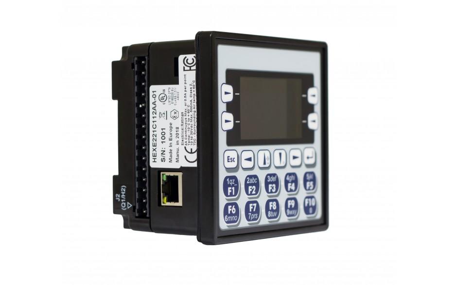 "Sterownik PLC z HMI EXLe - 2.25"", Ethernet; 12 DI (24V; 4 HSC); 12 DO (24V; 2 PWM); 2 AI (0-10V; 0-20mA; 4-20mA; RTD; THM); 2 AO (0-10V; 0-20mA; 4-20mA) 3"