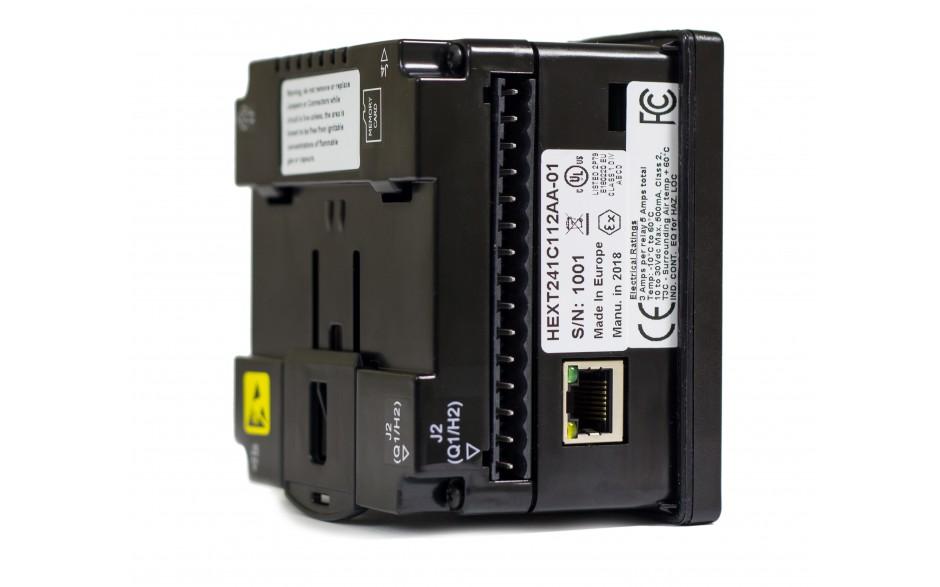 "Sterownik PLC z HMI EXLe - 2.25"", Ethernet; 12 DI (24V; 4 HSC); 12 DO (24V; 2 PWM); 2 AI (0-10V; 0-20mA; 4-20mA; RTD; THM); 2 AO (0-10V; 0-20mA; 4-20mA) 4"