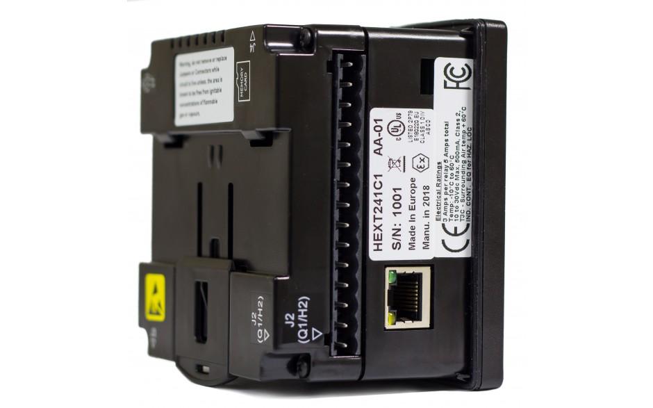"Sterownik PLC z HMI EXLt - 3.5"", Ethernet; 12 DI (24V; 4 HSC); 12 DO (24V; 2 PWM); 2 AI (0-10V; 0-20mA; 4-20mA; RTD; THM); 2 AO (0-10V; 0-20mA; 4-20mA) 10"