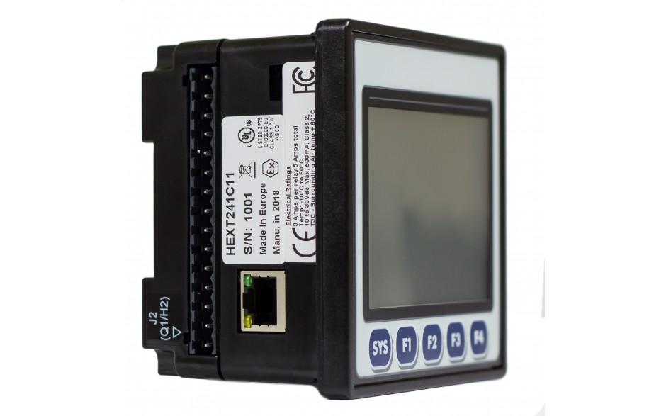 "Sterownik PLC z HMI EXLt - 3.5"", Ethernet; 12 DI (24V; 4 HSC); 12 DO (24V; 2 PWM); 6 AI (0-10V; 0-20mA; 4-20mA; RTD; THM); 4 AO (0-10V; 0-20mA; 4-20mA) 9"