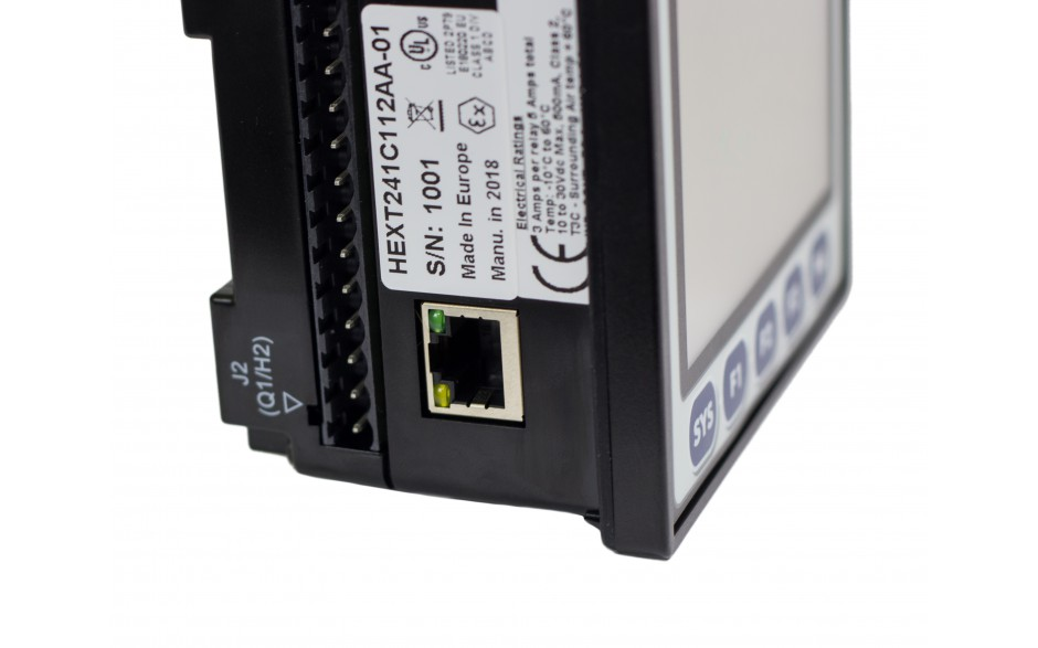 "Sterownik PLC z HMI EXLt - 3.5"", Ethernet; 12 DI (24V; 4 HSC); 12 DO (24V; 2 PWM); 2 AI (0-10V; 0-20mA; 4-20mA; RTD; THM); 2 AO (0-10V; 0-20mA; 4-20mA) 13"
