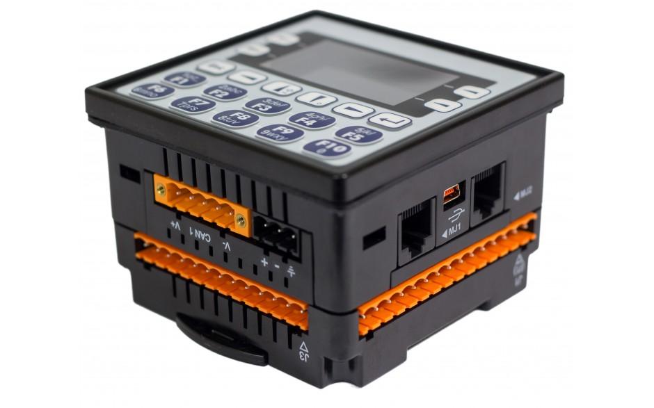 "Sterownik PLC z HMI EXLe - 2.25"", Ethernet; 12 DI (24V; 4 HSC); 12 DO (24V; 2 PWM); 6 AI (0-10V; 0-20mA; 4-20mA; RTD; THM); 4 AO (0-10V; 0-20mA; 4-20mA) 5"