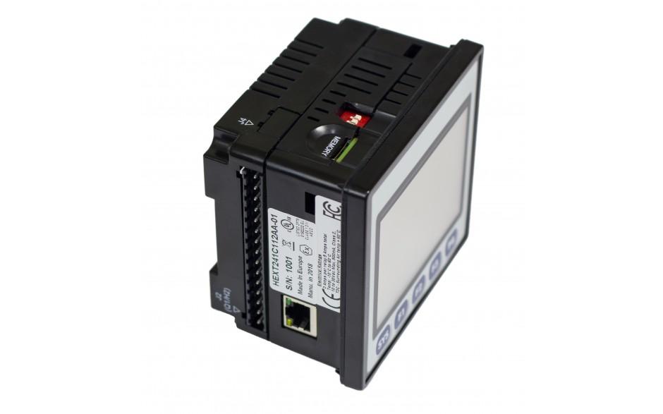 "Sterownik PLC z HMI EXLt - 3.5"", Ethernet; 12 DI (24V; 4 HSC); 12 DO (24V; 2 PWM); 2 AI (0-10V; 0-20mA; 4-20mA; RTD; THM); 2 AO (0-10V; 0-20mA; 4-20mA) 12"