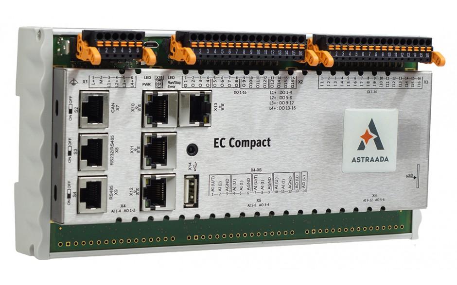 Astraada One Compact ECC2200 - 16DI, 16DO, web server, RS232/485, CAN, Ethernet, EtherCAT, Ethernet, Modbus TCP/RTU