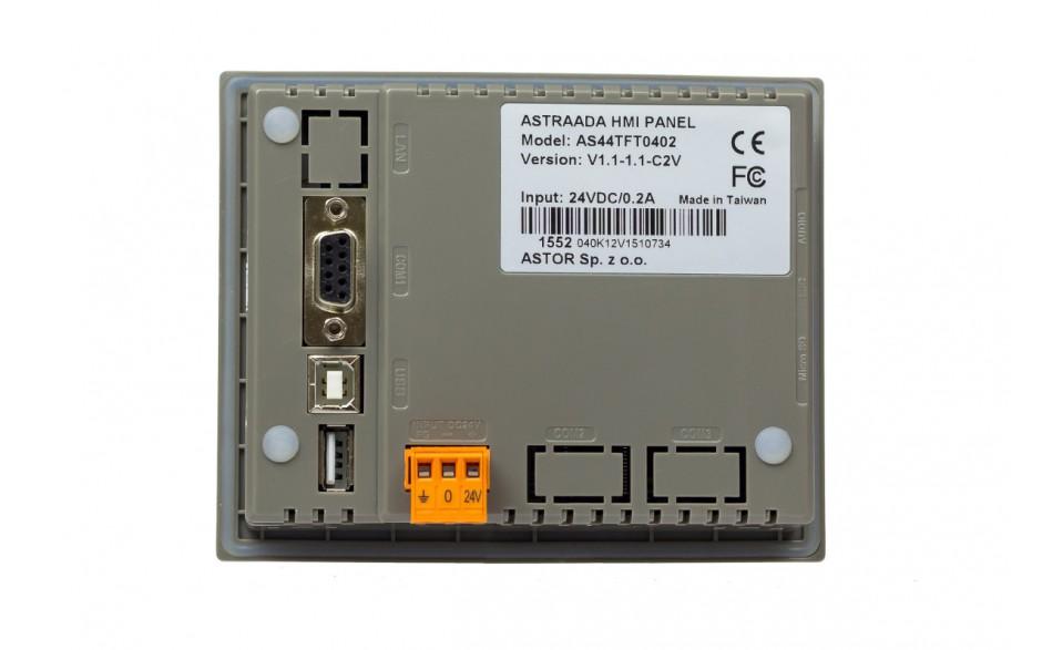 "Dotykowy panel operatorski Astraada HMI, matryca TFT 4,3"" (480x272, 65k), RS232/422/485, RS232, USB Client/Host 4"