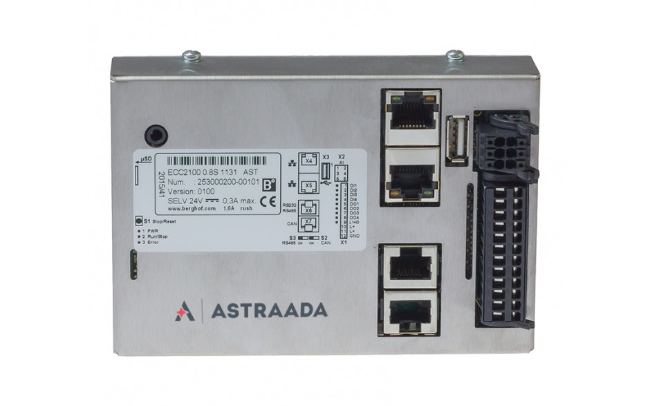 Astraada One ECC2100 - 4DI, 4DO, 4AI, web server, RS232/485, CAN, EtherCAT, Modbus RTU/TCP 2