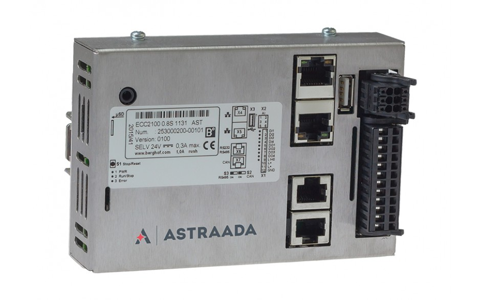 Astraada One ECC2100 - 4DI, 4DO, 4AI, web server, RS232/485, CAN, EtherCAT, Modbus RTU/TCP 3