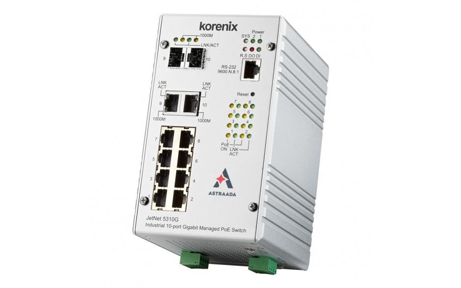 Wyprzedaż - Switch PoE przemysłowy, zarządzalny, Ethernet - 10-portowy (8 x 10/100 Base-TX, PoE + 2 x RJ45/SFP - 1000 Base-X), RING