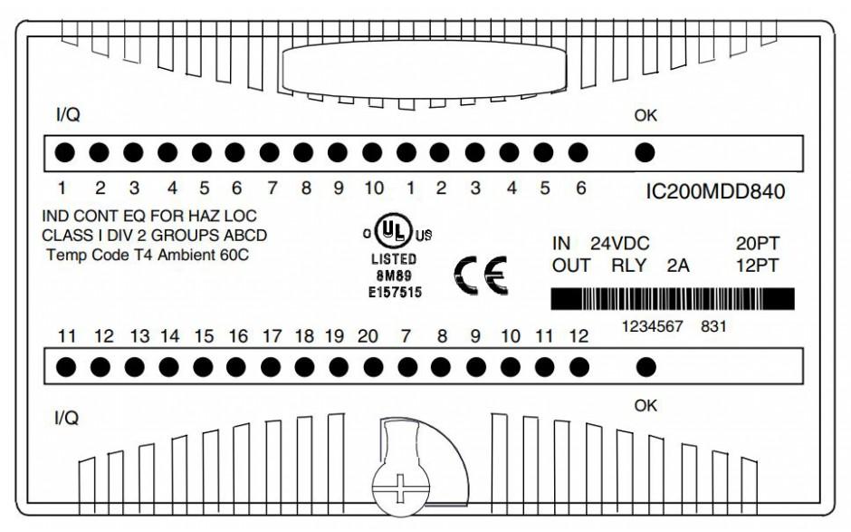 VersaMax - Moduł mieszany 20 wejść dyskretnych 24 VDC + 12 wyjść przekaźnikowych zwiernych 2.0 A 2