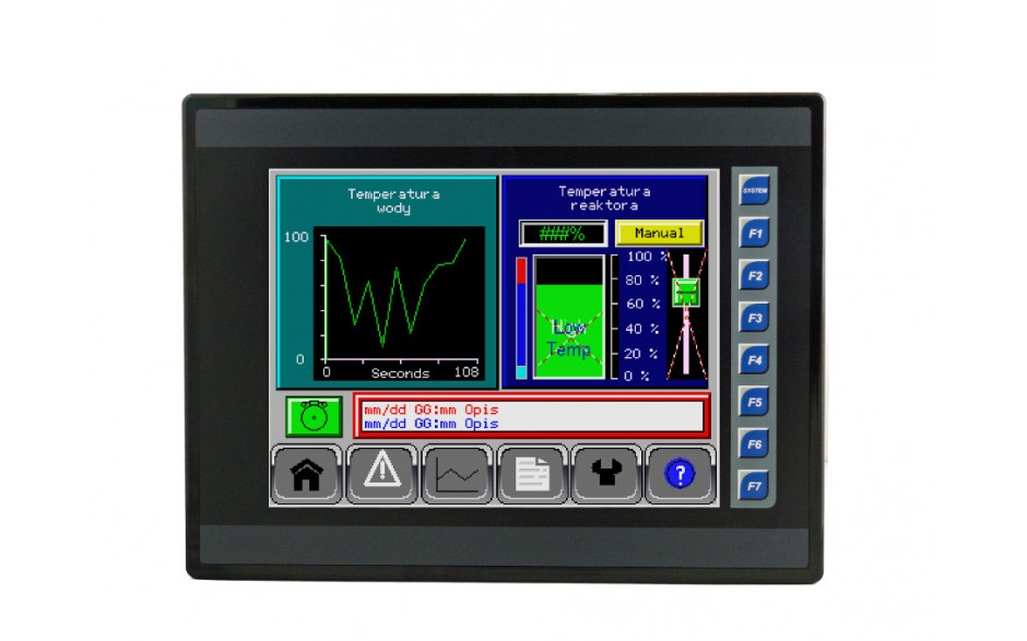 """Sterownik PLC z HMI EXL10 - 10"""", 12 DI (24V, 4 HSC), 12 DO (24V, 2 PWM), 6 AI (0-10V, 0-20mA, 4-20mA, RTD, THM), 4 AO (0-10V, 0-20mA, 4-20mA) 2"""