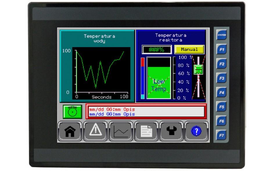 """Sterownik PLC z HMI EXL10 - 10"""",  12 DI (24V, 4 HSC), 6 DO (przekaźnik 2A), 4 AI (0-10V, 0-20mA, 4-20mA)"""