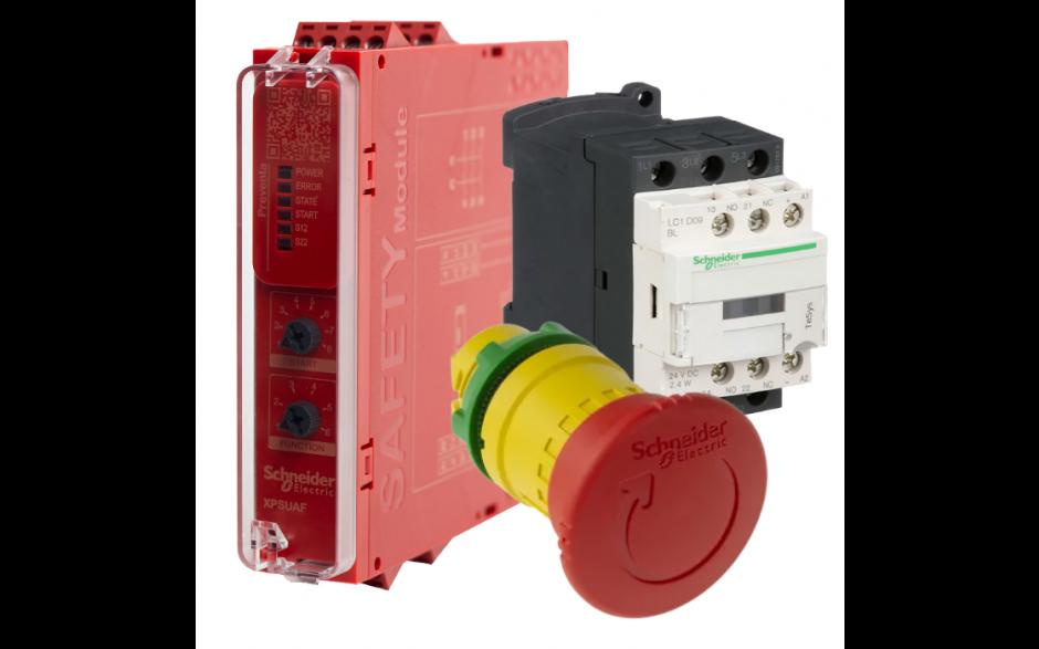 Zestaw bezpieczeństwa E-STOP do falownika lub silnika - XPSUAF13AP (następca XPSAF5130) + E-STOP Harmony XB5, 40mm, 2NC - ZB5AS844 + Stycznik 9A, 1NO, 1NC - LC1D09BL