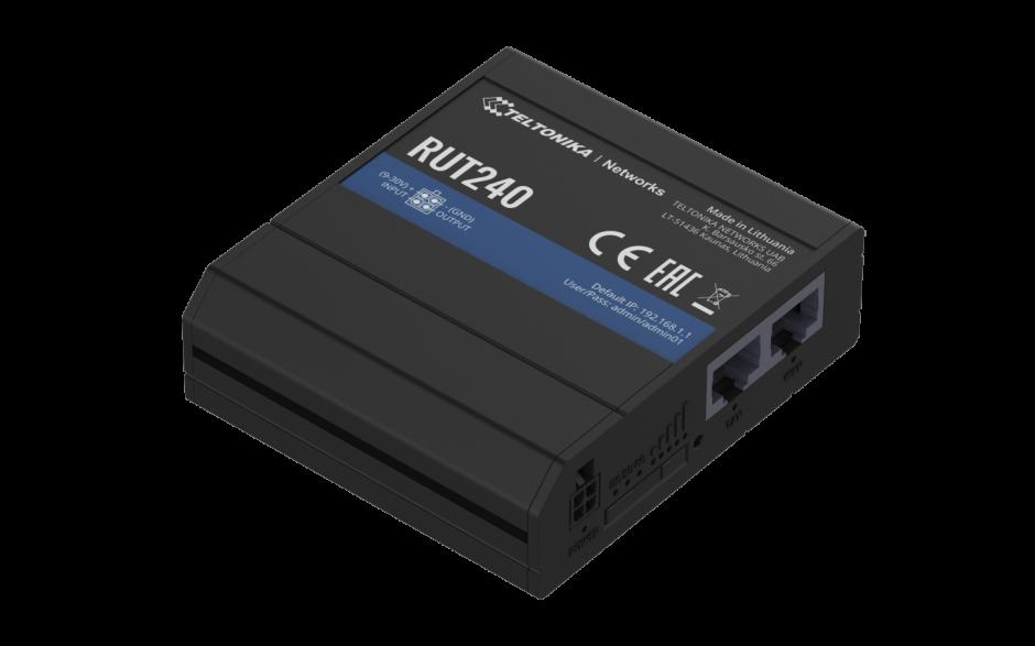 RUT240 - Router przemysłowy 4G (LTE); Ethernet; 64MB RAM; SMS; IPSec; openVPN; WiFi; montaż na szynie DIN