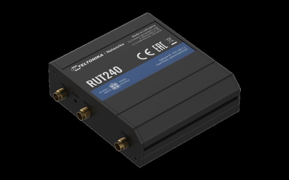 RUT240 - Router przemysłowy 4G (LTE); Ethernet; 64MB RAM; SMS; IPSec; openVPN; WiFi; montaż na szynie DIN 2