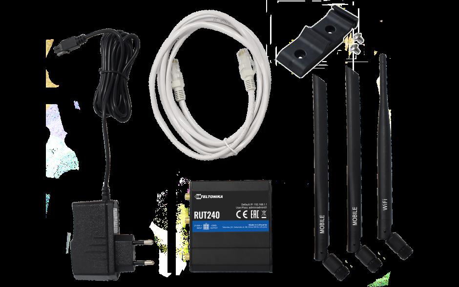 RUT240 - Router przemysłowy 4G (LTE); Ethernet; 64MB RAM; SMS; IPSec; openVPN; WiFi; montaż na szynie DIN 5