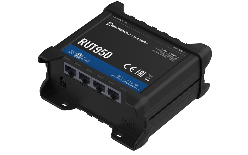 RUT950 - Router przemysłowy 4G (LTE); Ethernet; 128MB RAM; DUAL SIM; SMS; IPSec; openVPN; WiFi; montaż na szynie DIN