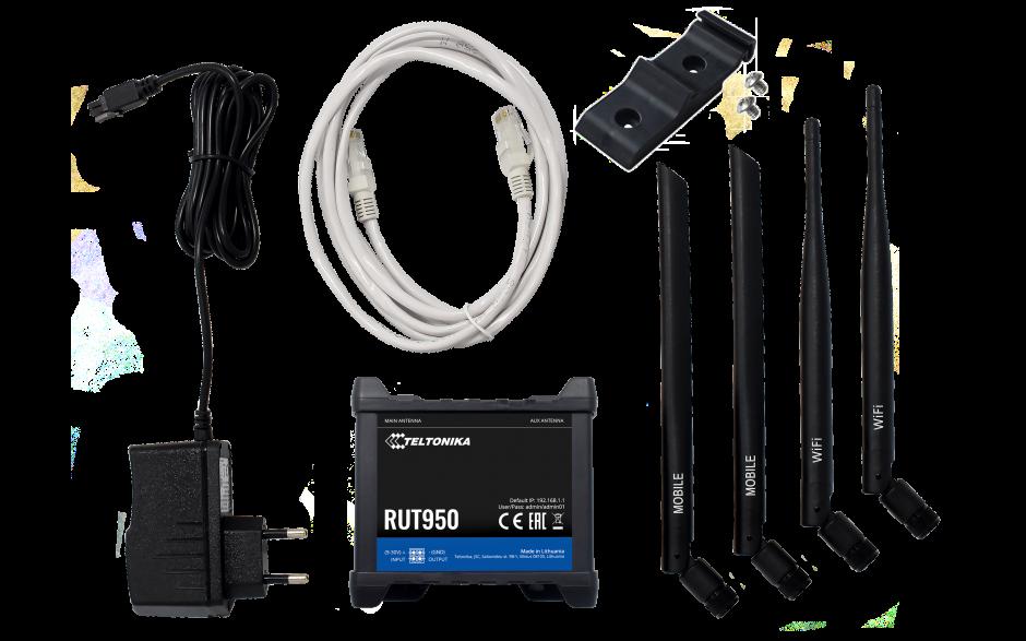 RUT950 - Router przemysłowy 4G (LTE); Ethernet; 128MB RAM; DUAL SIM; SMS; IPSec; openVPN; WiFi; montaż na szynie DIN 5