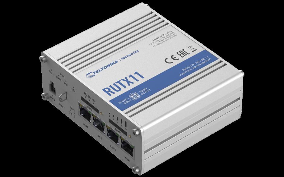 RUTX11 - Router przemysłowy 4G (LTE); Ethernet; 256 MB RAM; DUAL SIM; Bluetooth; SMS; IPSec; openVPN; WiFi; montaż na szynie DIN 2