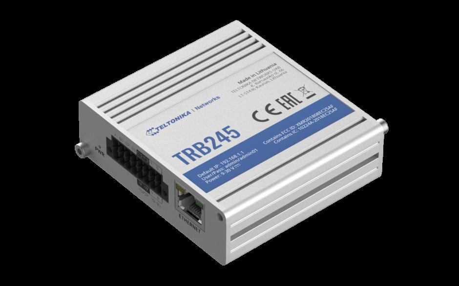 TRB245 - Gateway komórkowy 4G (LTE); Ethernet; 64MB RAM; DUAL SIM; SMS; IPSec; openVPN; możliwy montaż na szynie DIN