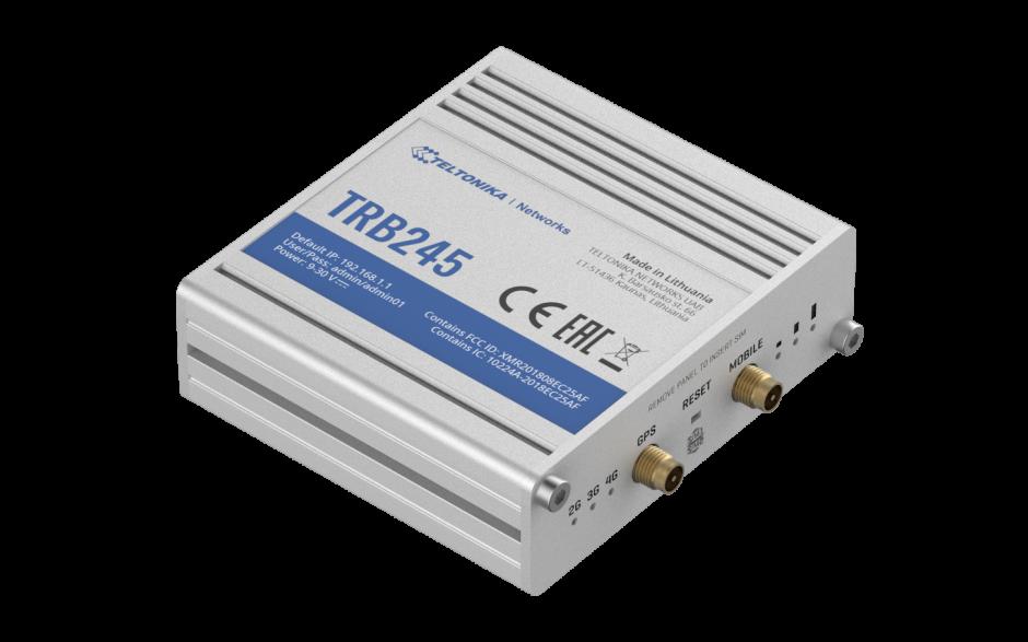 TRB245 - Gateway komórkowy 4G (LTE); Ethernet; 64MB RAM; DUAL SIM; SMS; IPSec; openVPN; możliwy montaż na szynie DIN 2