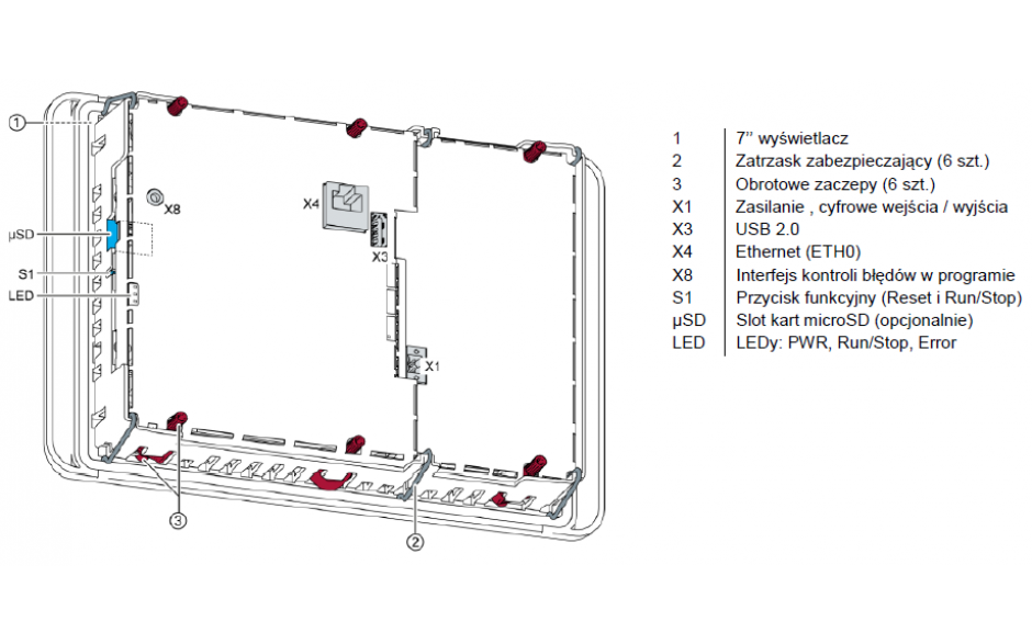 "Dotykowy terminal operatorski Astraada One, matryca TFT 7"" (800x480), 800 MHz, 512 MB Flash, 512MB RAM, 1x USB, 1x ETH (do Astraada One PLC) 2"