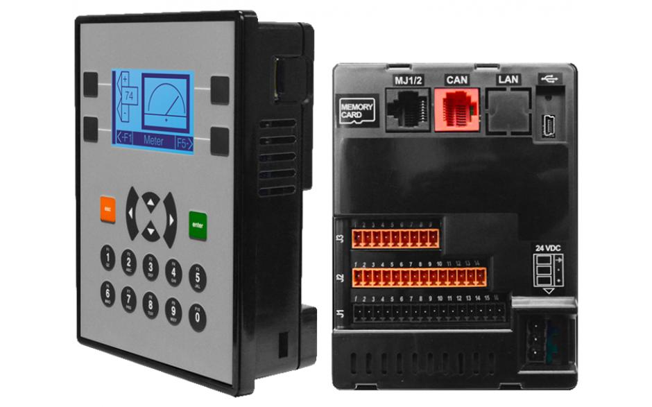 """Zestaw startowy z e-szkoleniem - Sterownik PLC z HMI X2 - 2.2"""", 12x DI (24V, 4 HSC 10 KHz), 12x DO (24V, 2 PWM 65KHz), 4x AI (4-20mA, 12 bit), 2x AO (4-20mA, 12 bit) 4"""