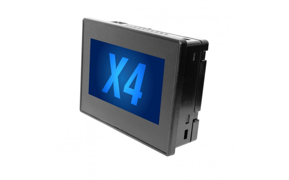 "Sterownik PLC z HMI X4 - 4.3"", 12 DI (24V, 4 HSC 10 KHz), 2 DO (24V, 2 PWM 65KHz), 6 DOR (3A), 4 AI (4-20mA, 12 bit), 2 AO (4-20mA, 12 bit)"