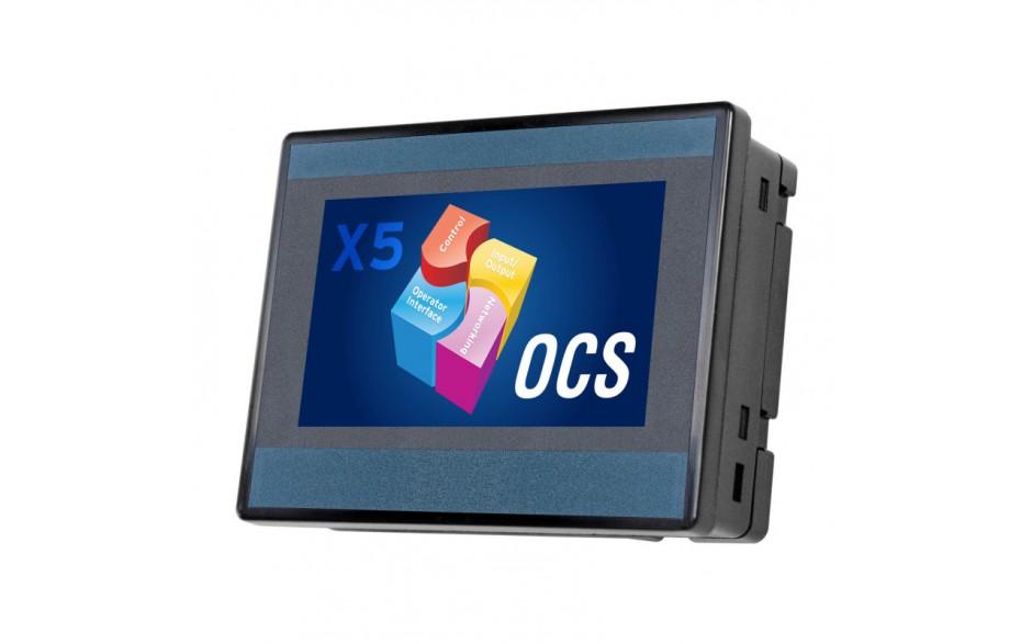 "PROMOCJA - X5; 4.3"" kolor, 1 MB pamięci, RS232, RS485, Ethernet, 2x USB, MicroSD, CAN; 4 DI (24V, 4 HSC 500 KHz), 4 DO (24V, 2 PWM 500 KHz), 4 AI (0-10V, 0-20mA, 4-20mA, 12 bit)"