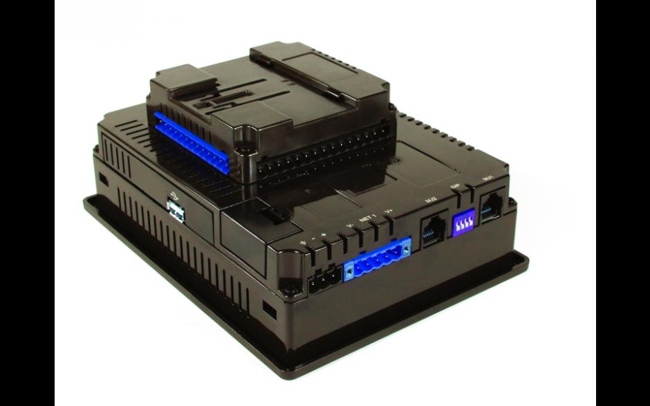 """Sterownik PLC z HMI EXL6 - 5.7"""", 12 DI (24V, 4 HSC), 12 DO (24V, 2 PWM), 6 AI (0-10V, 0-20mA, 4-20mA, RTD, THM), 4 AO (0-10V, 0-20mA, 4-20mA) 2"""