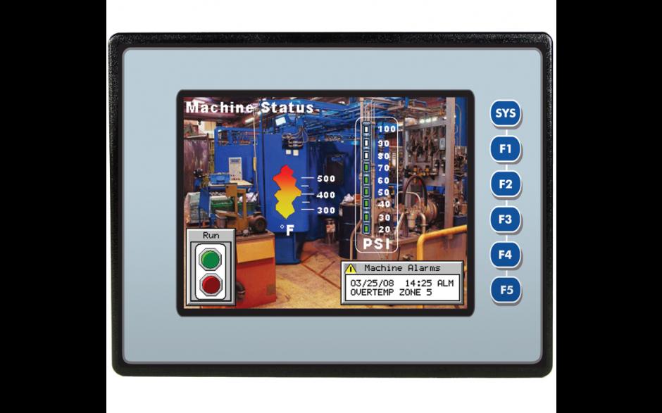 """EXL6; 5.7"""" kolor, 1 MB pamięci, RS232, RS485, RS232/485, Ethernet, 2x USB, MicroSD, CAN; 12 DI (24V, 4 HSC), 12 DO (24V, 2 PWM), 6 AI (0-10V, 0-20mA, 4-20mA, RTD, THM), 4 AI (0-10V, 0-20mA, 4-20mA)"""