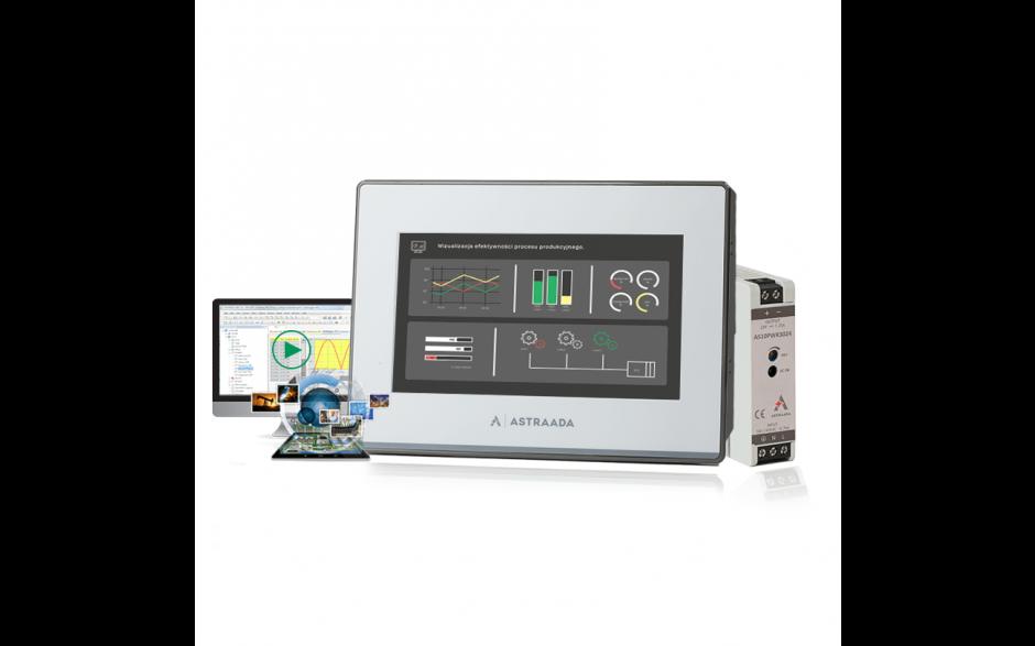 """Zestaw szkoleniowy Astraada HMI - dotykowy panel 7"""", zasilacz, szkolenie online, oprogramowanie i podręczniki"""