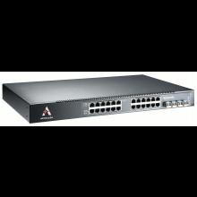 """Wyprzedaż - Switch zarządzalny przemysłowy Ethernet 24-portowy (20 x 10/100/1000 Base-TX + 4 x RJ45/SFP 1000 Base-X, zarządzalny (WEB, SNMP), Layer3, VRRP, zasilanie 24VDC, montaż w szafie 19"""", chłodzenie pasywne, -40...+65C)"""